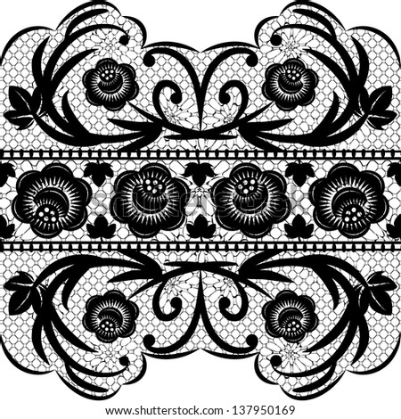 Seamless Black Lace Ribbon On A White Background Vector Illustration EPS8