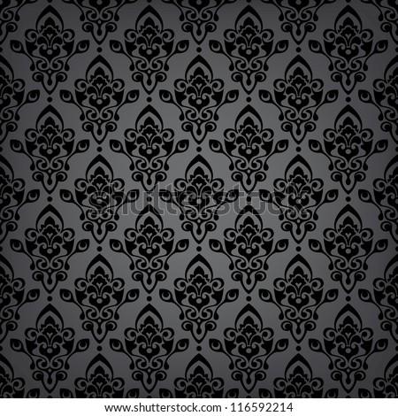 Seamless black luxury pattern/background - stock vector