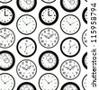 Seamless black pattern texture with contours of round clocks. Time outline background - stock photo