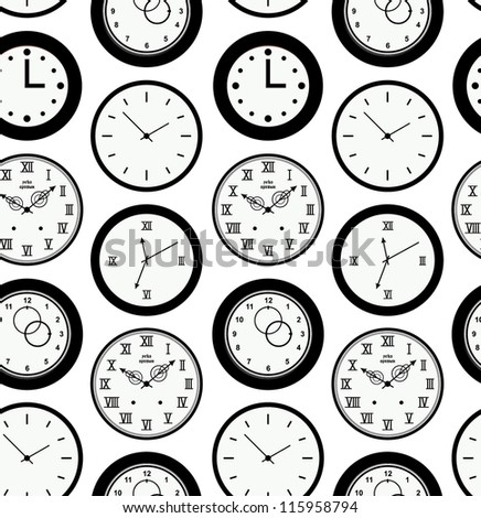 Seamless black pattern texture with contours of round clocks. Time outline background - stock vector