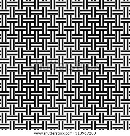Seamless black white weave pattern - stock vector