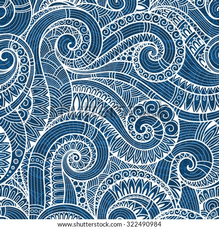 Seamless blue abstract hand-drawn pattern, waves background. Doodle  Illustration Design  - stock vector