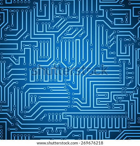 Seamless blue and dark blue electronic plate pattern vector. Circuit board vector illustration. Futuristic background. Electrical scheme. Technology seamless background with pattern in swatches - stock vector