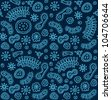 Seamless blue bacterium pattern. Vector illustration - stock photo
