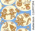 Seamless blue Christmas pattern with cute gingerbread men and other cookies. Vector illustration - stock vector