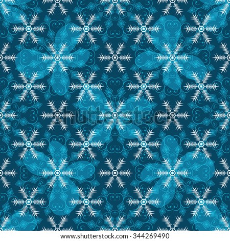 Seamless blue christmas pattern with translucent snowflakes and butterflies, vector eps 10 - stock vector
