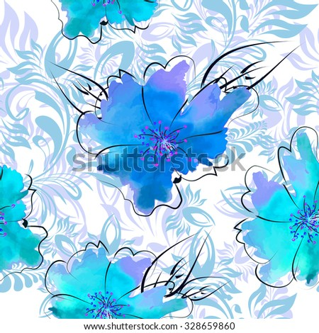 Seamless blue floral background. Vector - stock vector