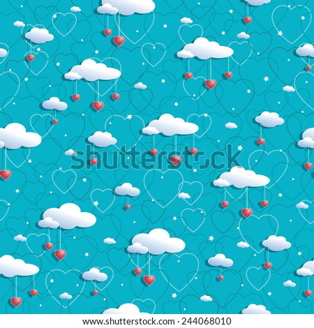 seamless blue heart pattern with clouds and red heart decorations - stock vector