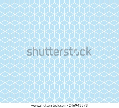 Seamless blue isometric cubes pattern vector - stock vector