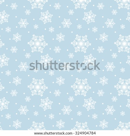 Seamless blue pattern with snowflakes. Vector - stock vector