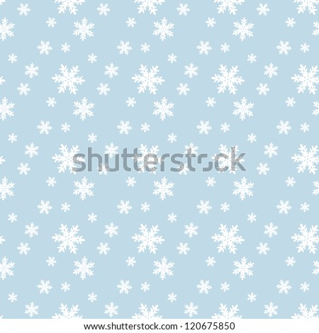 Seamless blue pattern with snowflakes. Vector illustration - stock vector