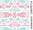 Seamless blue pink aztec vintage folklore background pattern in vector - stock vector