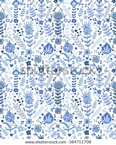 Seamless blue plants pattern, abstract nature background.Can be used for wallpaper, pattern fills, web page background,surface textures.