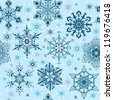 Seamless blue snowflake on textile pattern. Vector illustration - stock vector