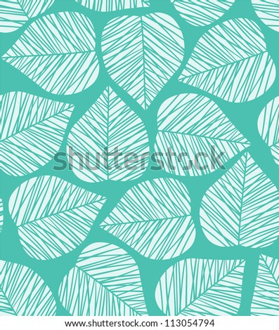 Seamless blue stylized leaf pattern. Vector illustration - stock vector