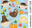 Seamless blue thanksgiving pattern with cute American Indians, pilgrims, turkey and pumpkins. Vector illustration - stock vector