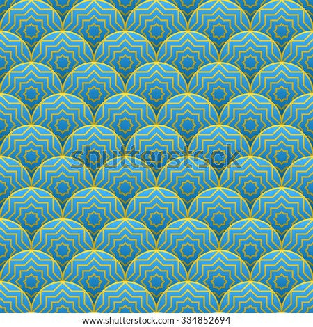 Seamless blue traditional pattern. Vector illustration - stock vector