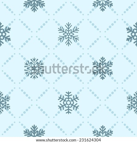 Seamless blue winter pattern with diamond of dots and snowflakes - stock vector