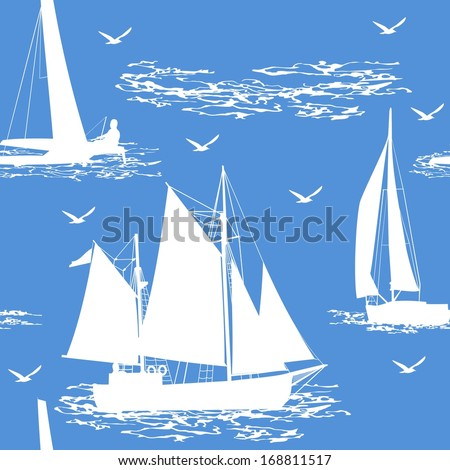 Seamless boat background. Vector illustration