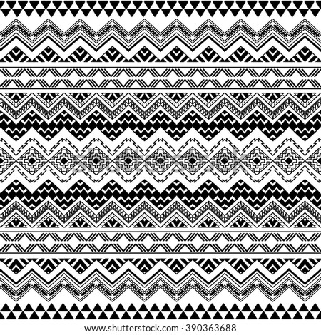 Seamless boho chic pattern with tribal aztec ornament. Modern folk style wallpaper. Black and white. Hand drawn abstract vector illustration. - stock vector