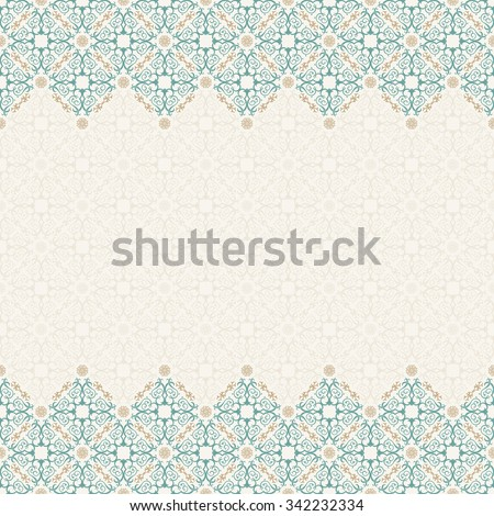 Seamless border vector ornate in Eastern style. Vintage elements for design, place for text. Ornament pattern for wedding invitations birthday greeting cards. Traditional pastel decor blue and gold - stock vector