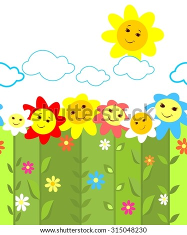 Seamless border with colorful funny flowers - stock vector