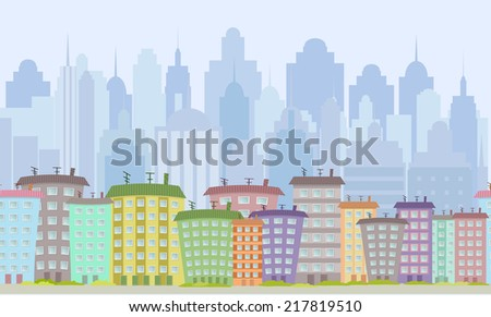 seamless border with cute houses  for you design - stock vector