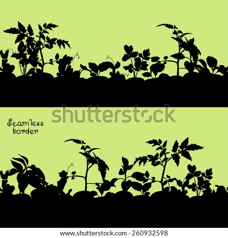 Seamless border with silhouettes of various seedlings and plants. Vector design, seamless together and each other. - stock vector