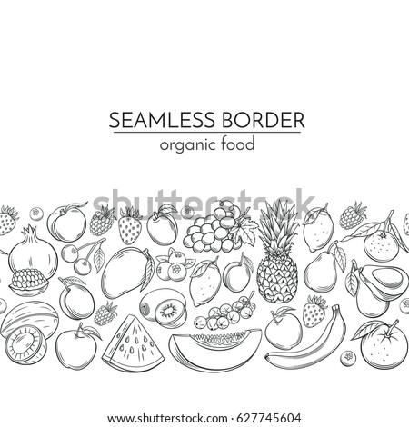 Seamless borders with hand drawn fruits for farmers market menu design. Vector vintage illustration.