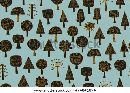 Seamless Botanical pattern. Herbal background. Forest trees. Stylized plant elements.