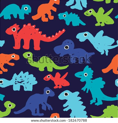 Seamless boy grunge style dinosaur illustration in raw paint background pattern in vector - stock vector