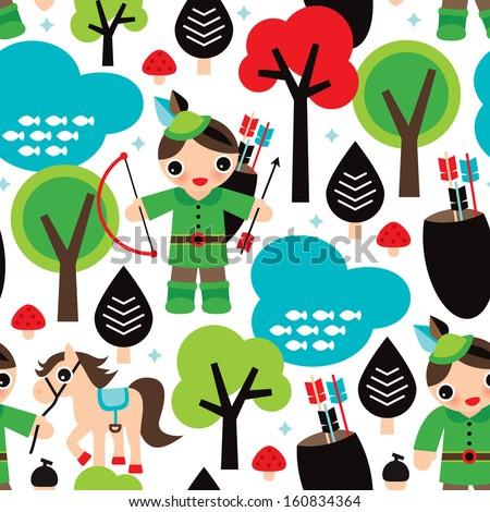 Seamless boys fairy tale Robin Hood illustration background pattern in vector - stock vector