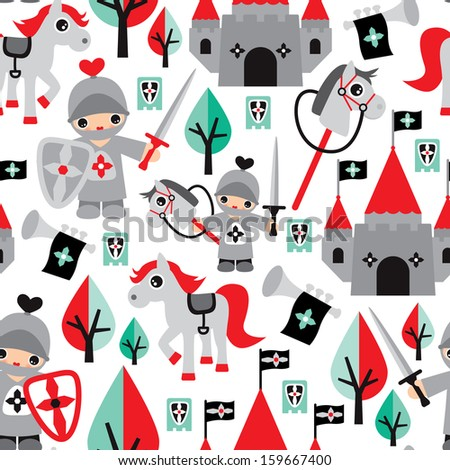 Seamless boys knight sword and horse castle fabric background pattern in vector  - stock vector