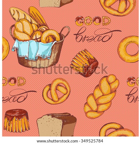 Seamless bread and basket with bread background. Hand drawn vector illustration in sketch style.