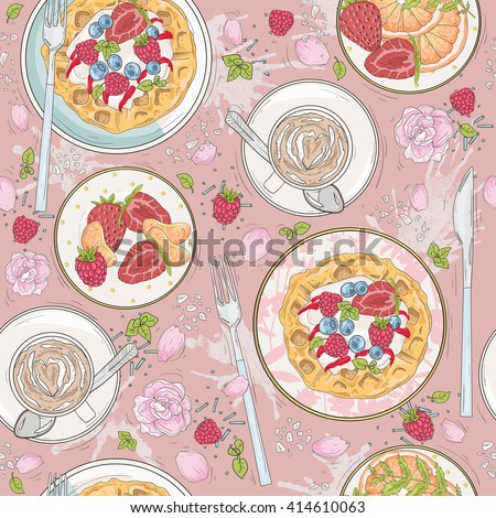 Seamless breakfast pattern  Vector background with coffee. breakfast, breakfast, breakfast, breakfast, breakfast, breakfast, breakfast, breakfast, breakfast, breakfast, breakfast, breakfast, breakfast