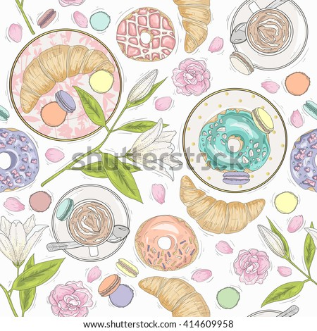 Seamless breakfast pattern with flowers, pastries and coffee. Vector background with macaroons, donuts, croissants and coffee. - stock vector