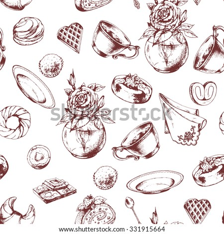 Seamless breakfast  pattern with porcelain cup, baked goods and candy. Rose in vase, Croissant, Cakes, Chocolate, Candy, Waffle and Donuts, hand drawn vector illustration.
