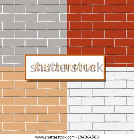 Seamless brick wall paper decorative rectangular pattern vector illustration - stock vector