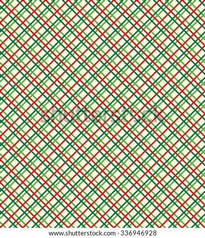 Seamless Bright Abstract Netting Pattern in Christmas Colors Isolated on White Background - stock vector