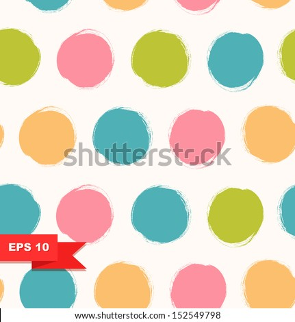 Seamless bright background. Decorative pattern with drawn circles - stock vector