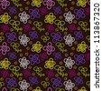 seamless bright cartoon pattern on black background - stock vector
