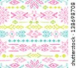 Seamless bright colorful aztec vintage folklore background pattern in vector - stock vector