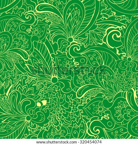 Seamless bright colorful hand drawn pattern in doodle style. Suitable for textile and paper prints. Vector, eps 10.
