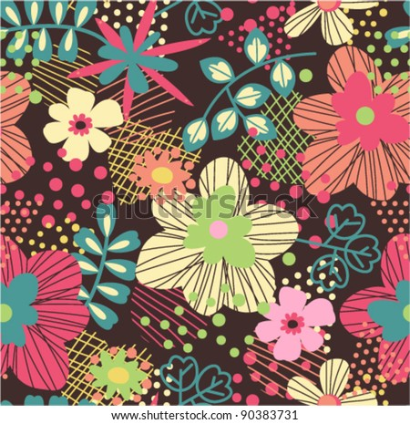 seamless bright pattern with abstract background - stock vector
