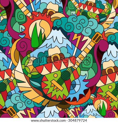 Seamless bright pattern with hand drawn elements of the Mexican style. Background template for web design, wallpaper, covers, booklets. - stock vector
