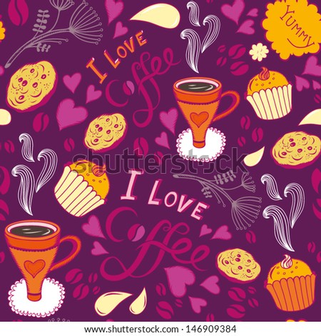 """Seamless bright pattern with sweet cakes, coffee and other cute things """"I love coffee"""". - stock vector"""