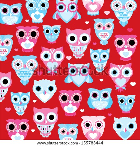 seamless bright red colorful retro owl background pattern for kids in vector  - stock vector