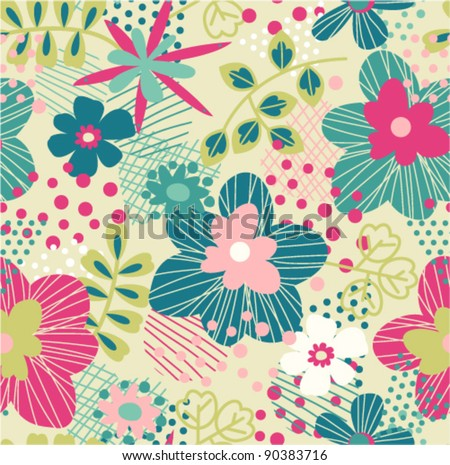 seamless bright spring pattern with abstract background - stock vector