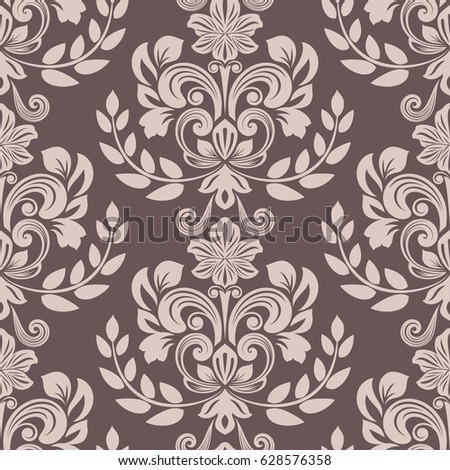seamless brown and beige floral wallpaper vector background vintage damask pattern backdrop