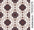 Seamless Brown Batik Pattern - stock vector